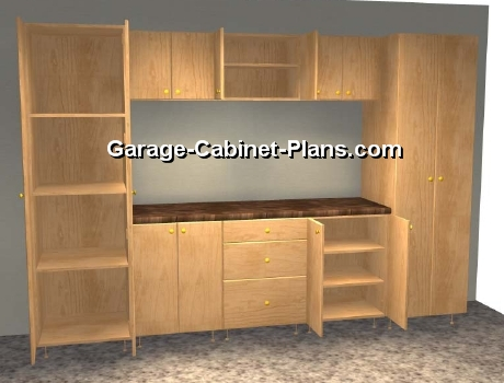 A Closer Look   10 Ft Garage Cabinet Plans   9 Pc Set